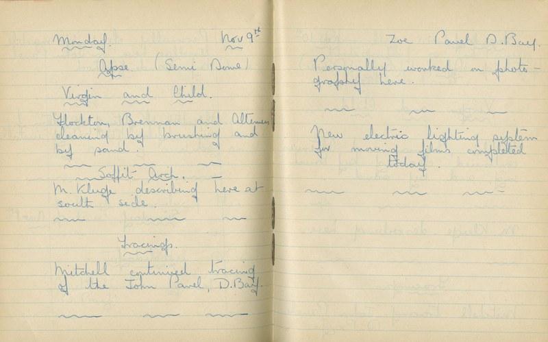 William John Gregory: Notebook Entry for November 9, 1936