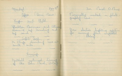 William John Gregory: Notebook Entry for November 9, 1936