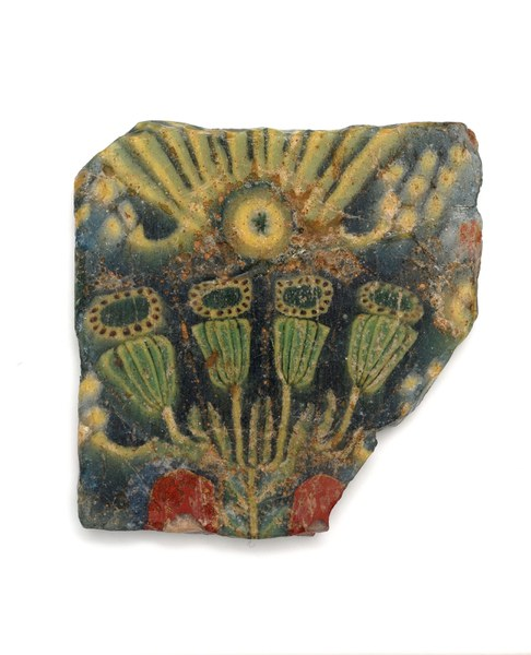Fragment of Glass with Stylized Flowers