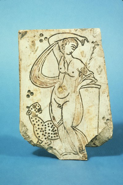 Incised Plaque with Hermaphrodite and Leopard