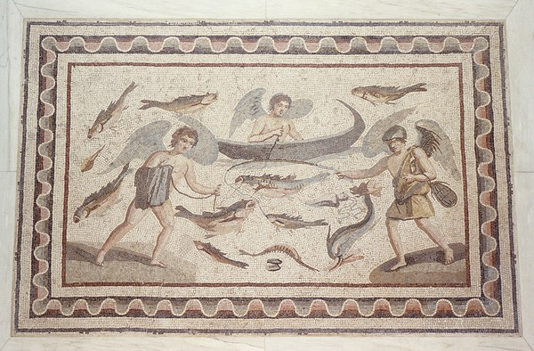 Mosaic with Erotes Fishing