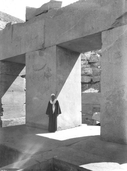 Pillared hall with graffiti in Cenotaph of Seti I (Osireion), Abydos, Egypt, 1931