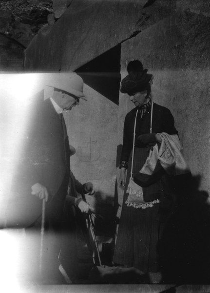 Edouard Naville (1844–1926), field director of the Abydos excavations from 1911 to 1914. The woman on the left is likely Naville's wife, Marguerite.
