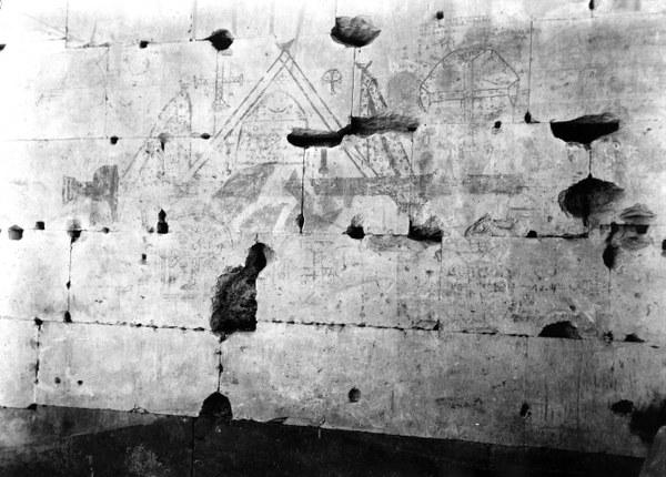 Christian graffiti at the Temple of Seti I, Abydos, Egypt, 1931