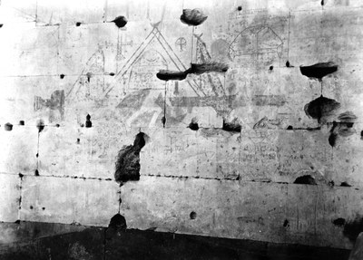 Christian graffiti at the Temple of Seti I, Abydos, Egypt, 1931
