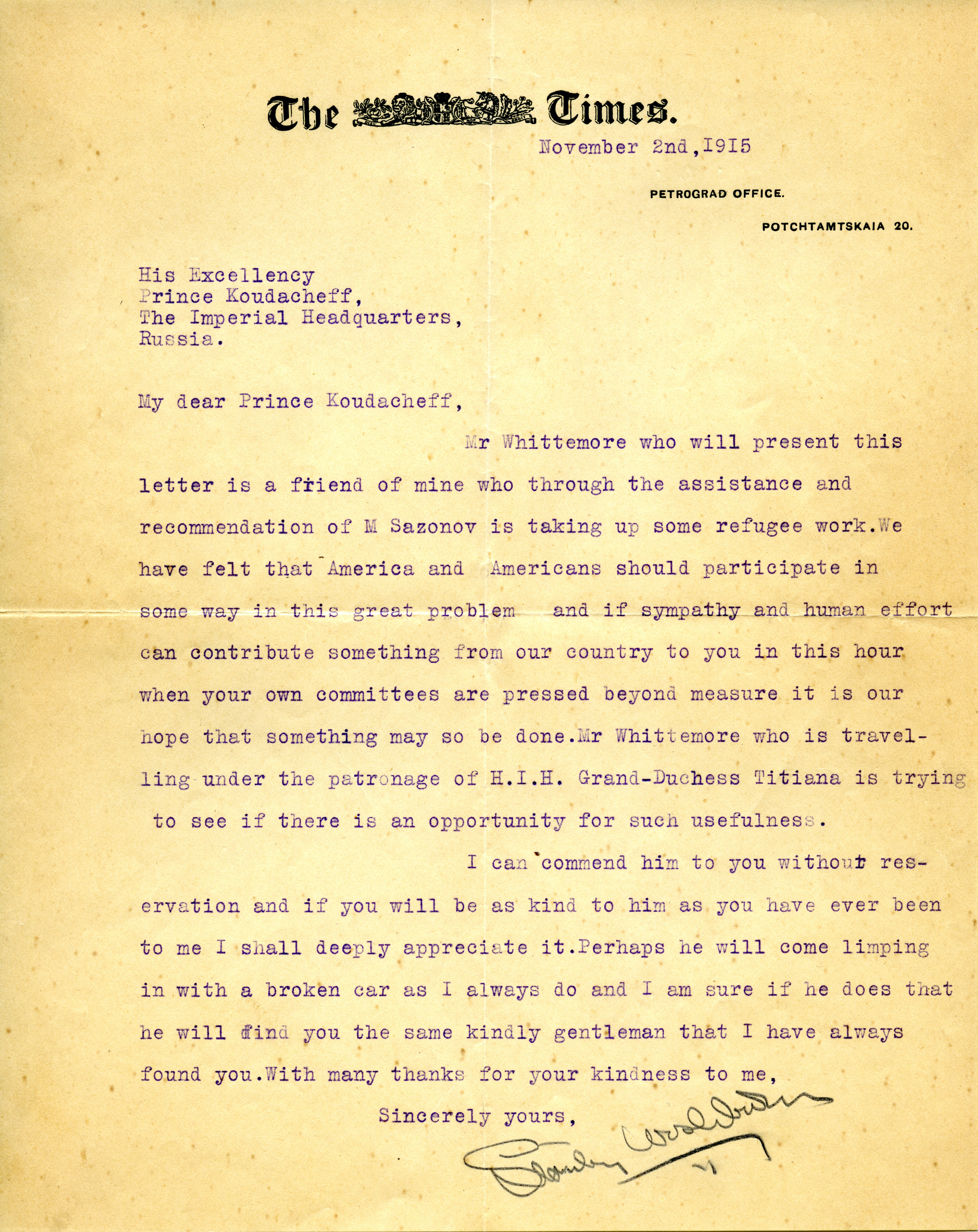 Letter introducing Thomas Whittemore to Prince Koudacheff of Russia, November 1915