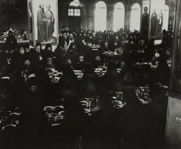 Monks eating in the refectory (interior of the Trapeza, looking North)