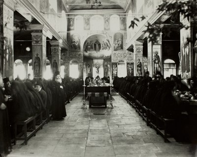 Monks eating in the refectory (interior of the Trapeza, looking west)