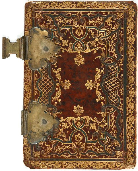 A binding of brown calf on pasteboard, tooled in gold and in blind, with painted black details