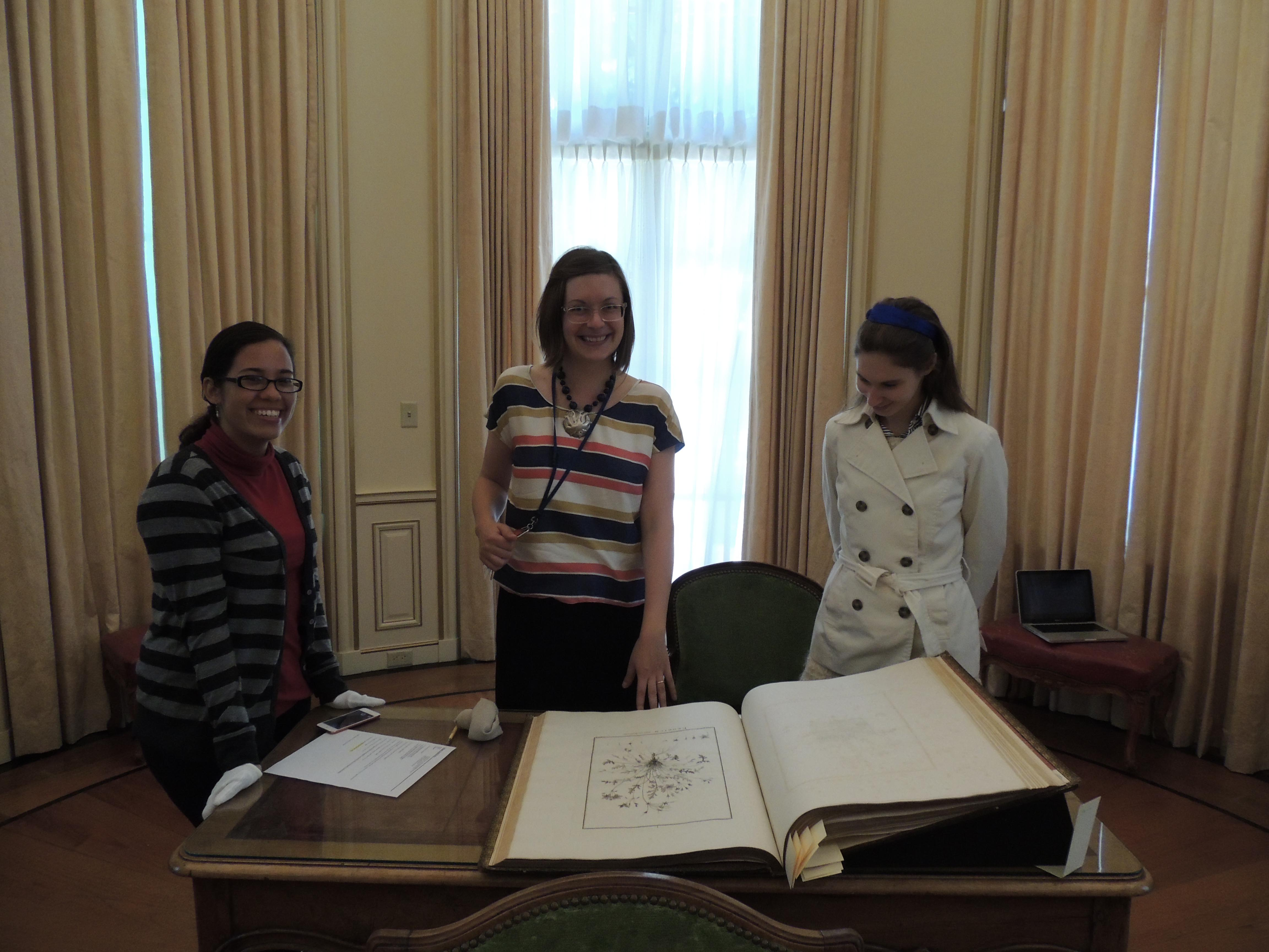 Jasmine, Sarah, and Deirdre in the Rare Book Reading Room