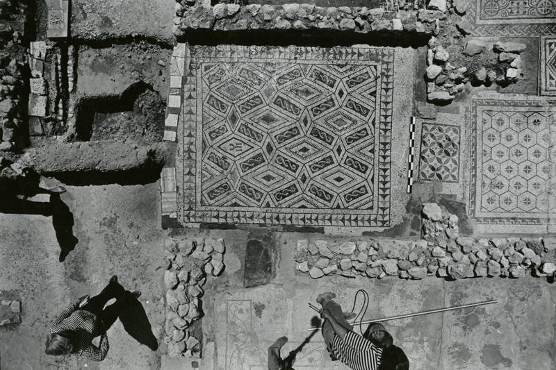 """""""Peacock"""" mosaic pavement at El Jem"""