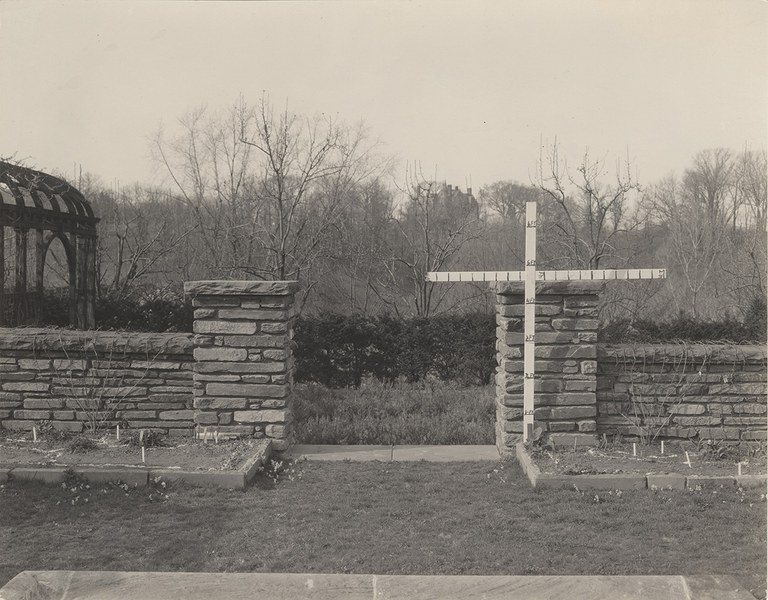 Gate opening north side of flower garden, before construction of gates, 1930–1938