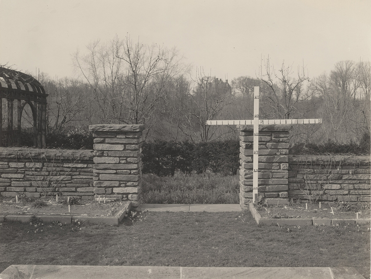 Gate opening north side of flower garden, before construction of gates, 1930–1938 (detail)