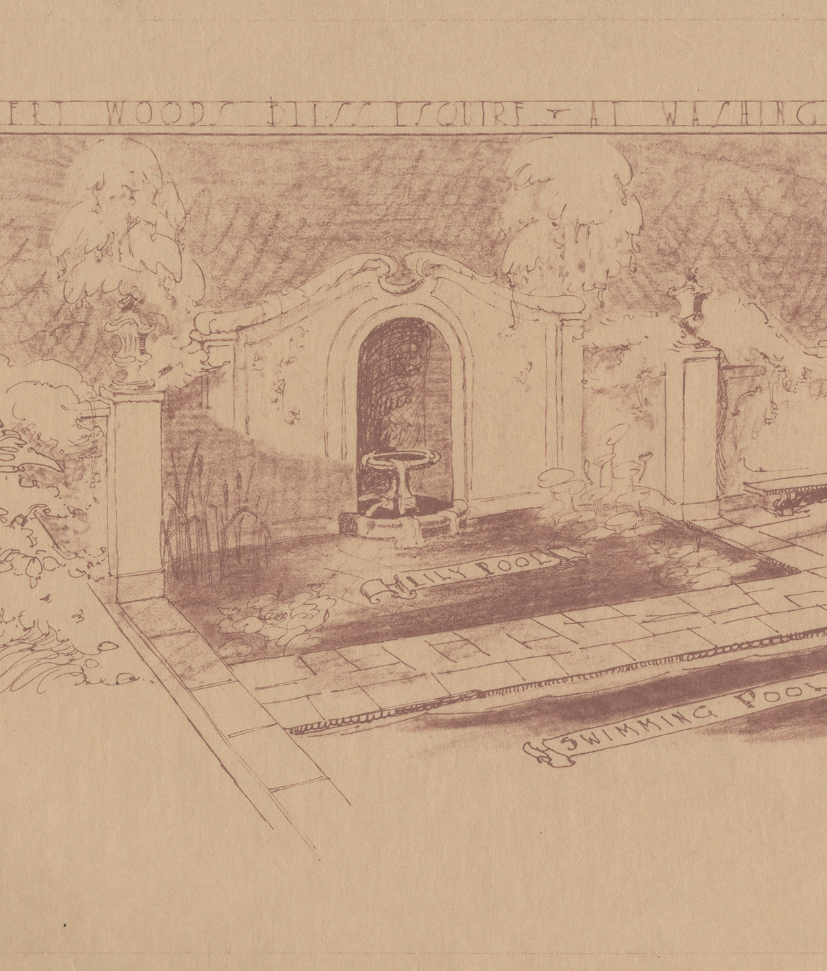 Drawing of paved lily pool, 1928–1931 (detail)