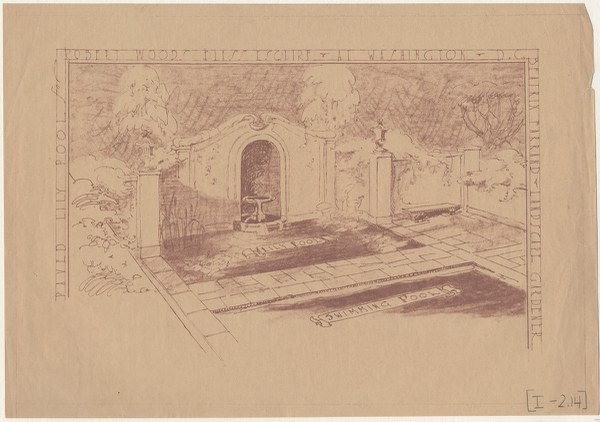 Drawing for paved lily pool, 1928–1931