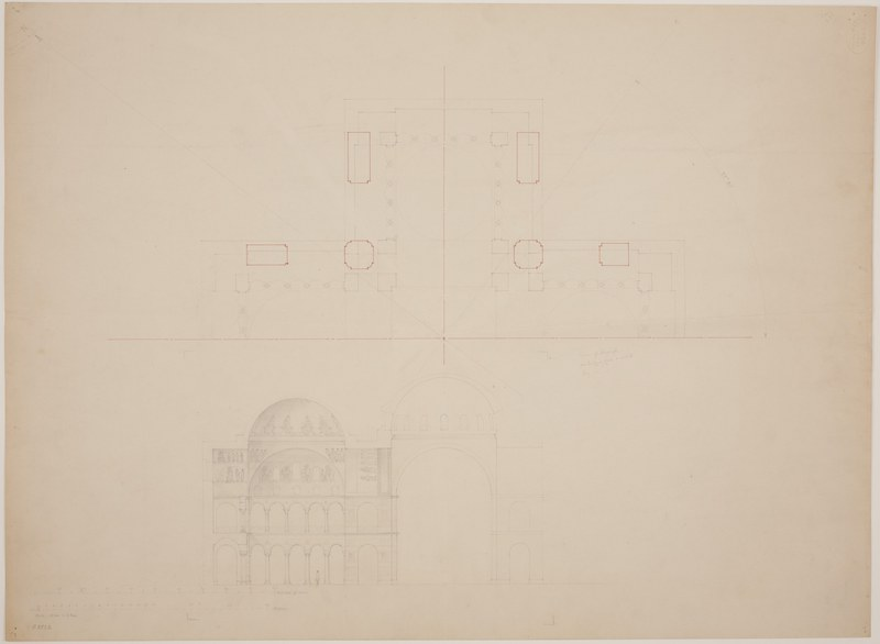 Half ground plan of the main church, and elevation of central and western domes with representation of the Pentecost