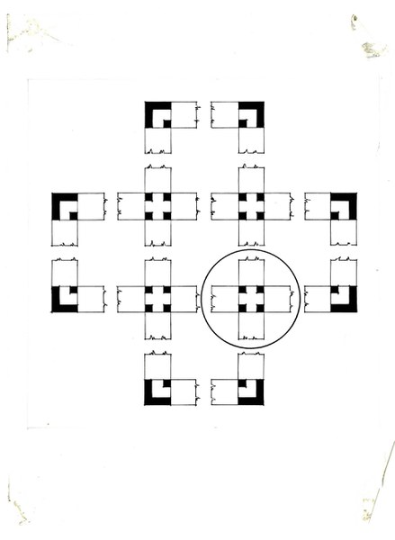 Unfolding of the cube with repetitive cross-shaped elements
