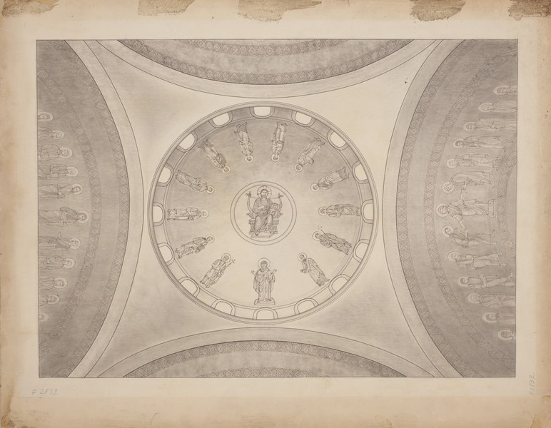 Central dome with depiction of Christ Pantokrator surrounded by the heavenly court (second solution)