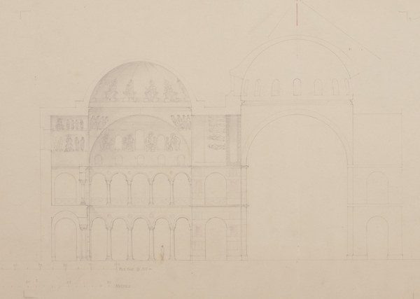 Detail of elevation of the central dome and western dome with depiction of the Pentecost