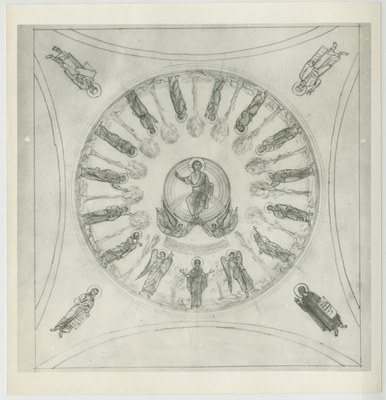 Southern dome with depiction of the Analepsis (sketch)