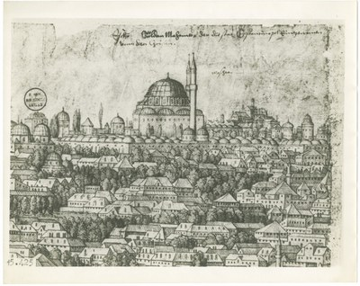 Prospect of Constantinople, detail showing the mosque of Mehmed II (Fatih Camii)