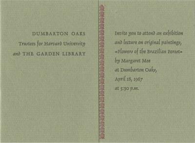 Margaret Mee's Dumbarton Oaks lecture