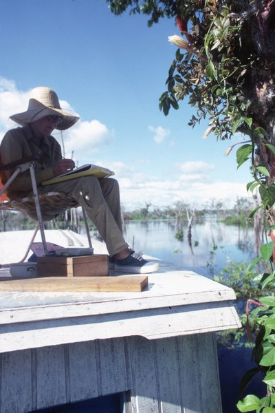 Margaret Mee sketching Selenicereus wittii Anavilhanas on the roof of a boat, 1988, Rio Negro, Amazon