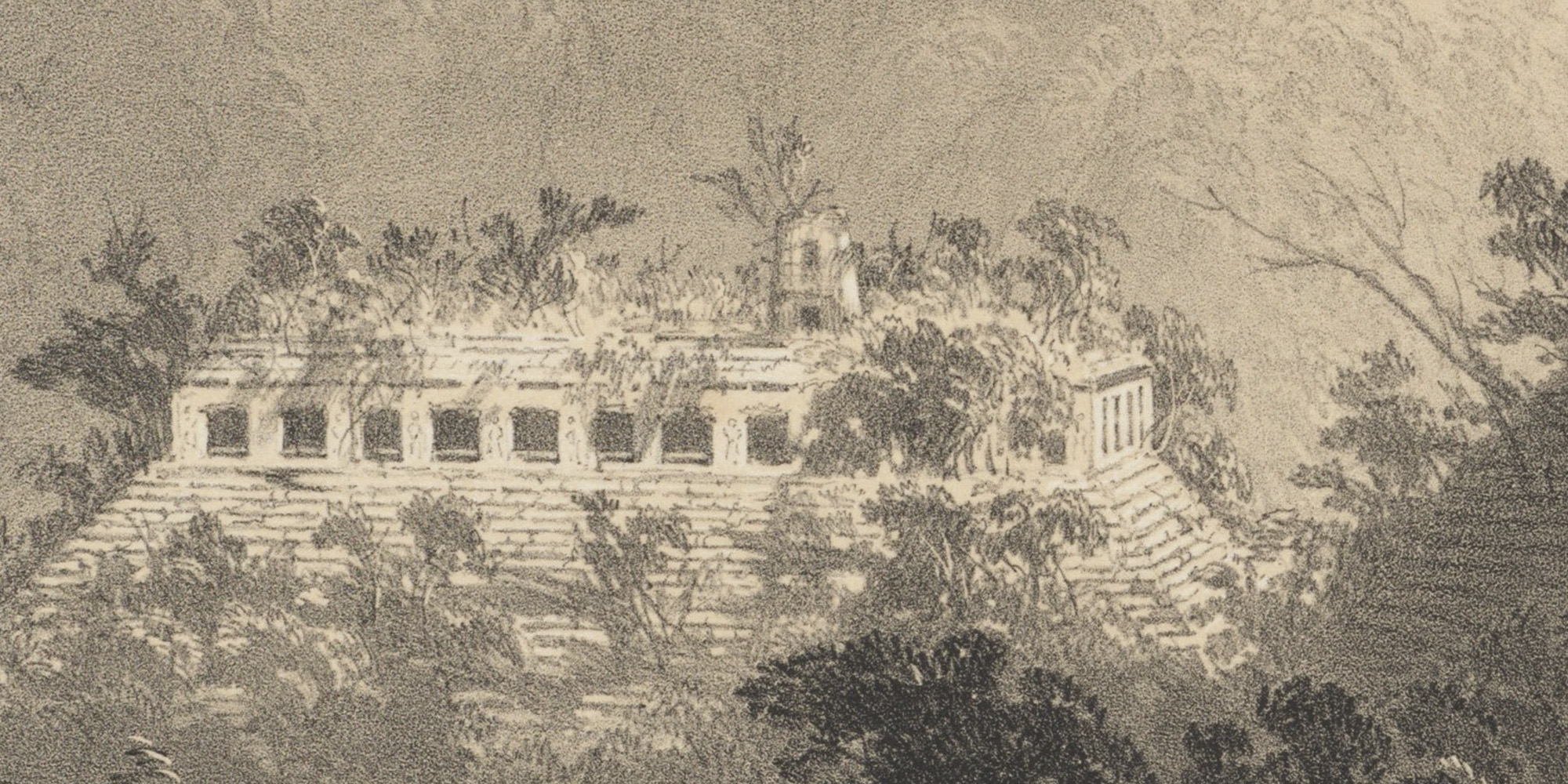 Detail of General View of Palenque, lithograph on stone by A. Picken, based on artwork by Frederick Catherwood, from Catherwood 1844, pl. VI.