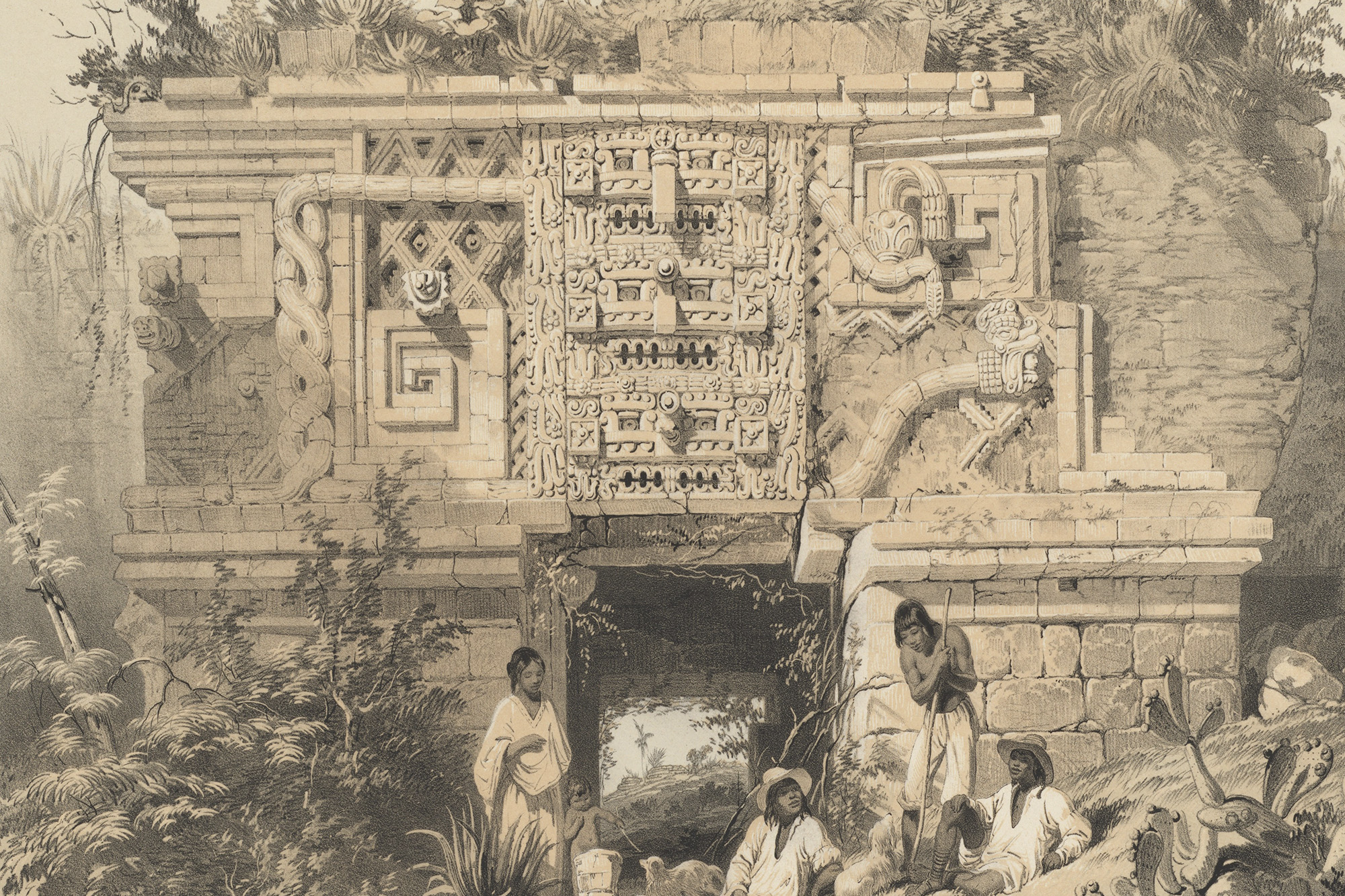 Detail of Portion of a Building; Las Monjas, Uxmal, lithograph on stone by A. Picken, based on artwork by Frederick Catherwood, from Catherwood 1844, pl. XIV.