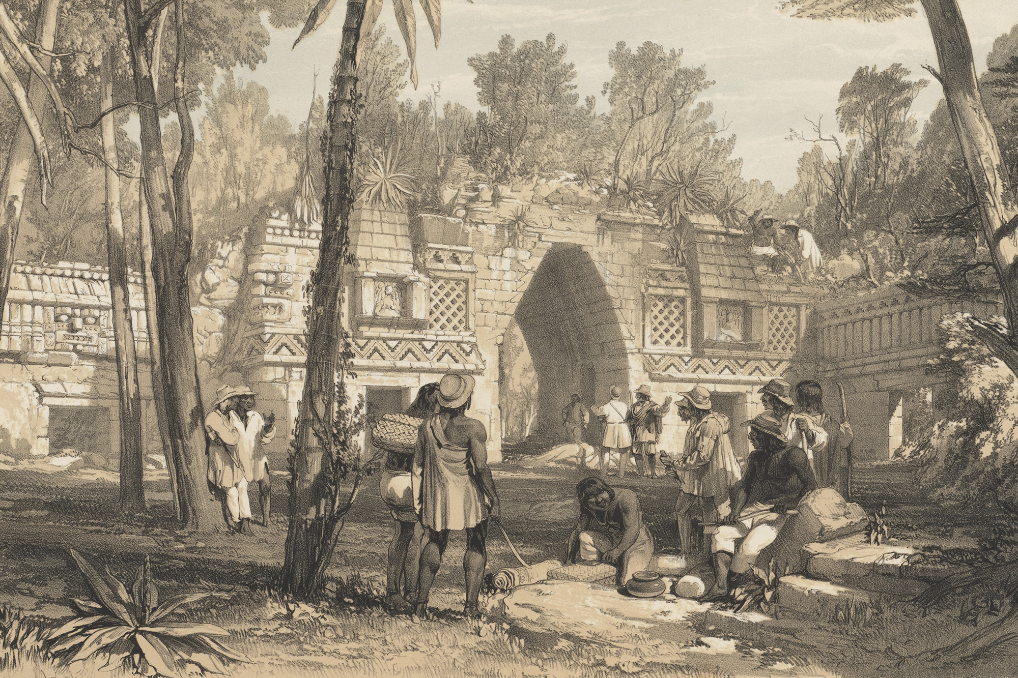 Detail of Gateway at Labnah, lithograph on stone by J. C. Bourne, based on artwork by Frederick Catherwood, from Catherwood 1844, pl. XIX.