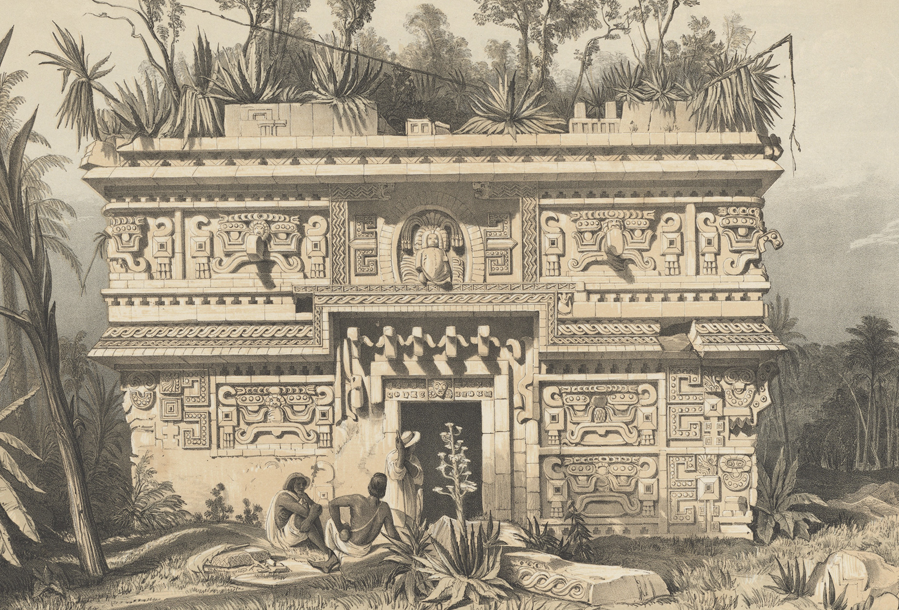Las Monjas, Chichen-Itza, lithograph on stone by G. Moore, based on artwork by Frederick Catherwood, from Catherwood 1844, pl. XXI.