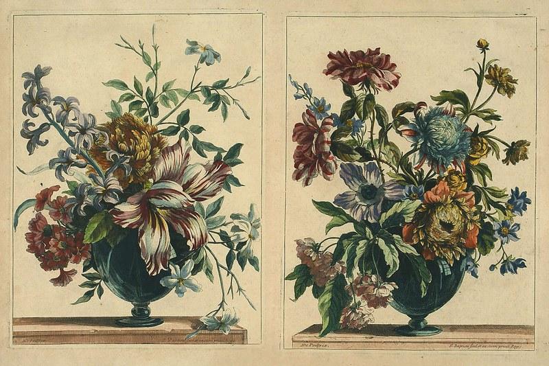 Arrangements in glass vases