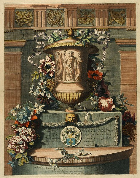 Urn with a garland of flowers