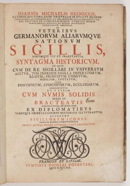 De veteribus germanorum aliarumque nationum sigillis.